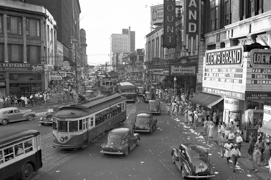 Peachtree Street on V-J Day - Aug14-1945-800
