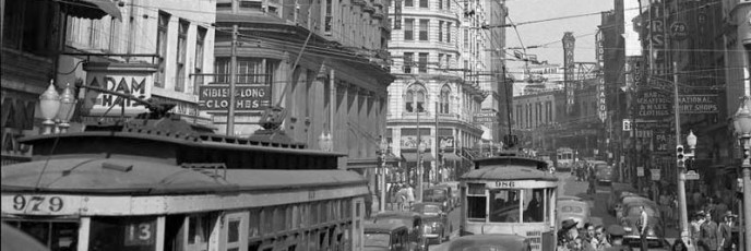 Peachtree Street looking north east towards the Candler Building - 1945-800