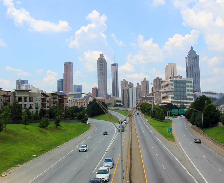 atlanta skyline from jackson street bridge  u2013 1970  u0026 2015
